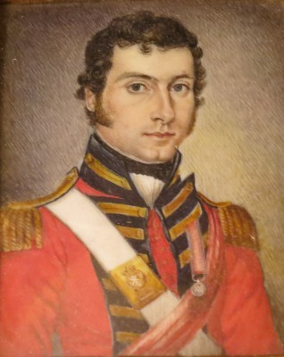 Portrait miniature of Lieutenant Orr, 42nd Highlanders (Black Watch) wearing his Waterloo medal