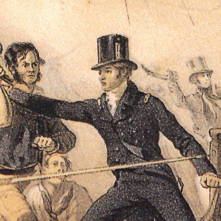 Detail of Captain Broke assailed by three Americans on Chesapeake. After parrying the pike man, he was struck by the sailor wielding the musket before the third American slashed his head with a cutlass. Coloured lithograph. De Saumarez family collect.